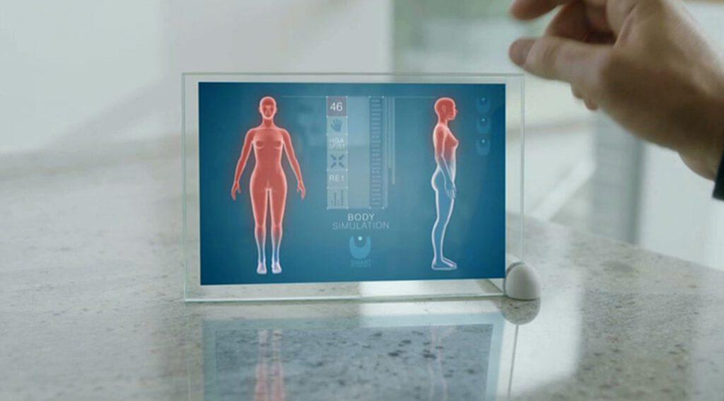 Vista del cuerpo percibido por la conciencia en un monitor